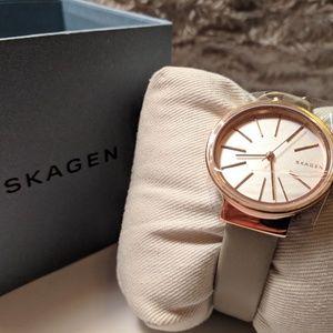 NEW Skagen Women's Ancher Leather Strap Watch Rose